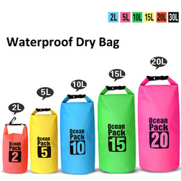 Wholesale Orange Buckets - Outdoor Lightweight Dry Bags Waterproof Bag Bucket Pouch Drifting Swimming Canoe Boating Mountaineering Travel Kit Package Beach Storage Bag