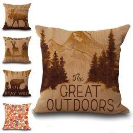 Wholesale hotels bear - Wild Animal Deer Goat Bear Throw Pillow Cases Cushion Cover Pillowcase Linen Cotton Square Pillow Case Pillowslip Home Decor 240529