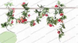 Wholesale Pink Rose Decals - 8.6FT(220CM) Artificial fake plastic Rose Silk Flower garland ivy Leaf Vine Foliage Home Wall Party Decor Wedding Decal (pink) MYY
