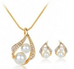 Wholesale Three Gold Circles Pendant - Pearl diamond necklaces earring set for womens gold silver three colors
