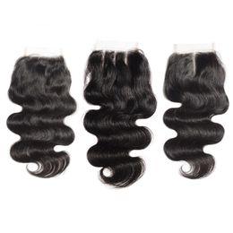 Wholesale Bleach Bodies - Body Wave Lace Closure Bleached Knots Brazilian Body Wave Human Hair Closure Free Middle 3 Part 100% Human Hair Top Lace Closure