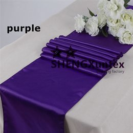 Wholesale Purple Table Runners Wholesale - Nice Looking Purple Color Satin Table Runner \ Banquet Table Runner For Wedding Used On Table Cloth