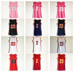 Wholesale Sexy Sleeveless Shirts - Women 23 Lebron James Basketball Dress Skirt Jerseys Lady 2 Kyrie Irving Blue White Pink Red Girls Sexy Dresses With Player Name Sport Shirt