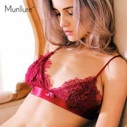 Wholesale Women Silk Bra Sets - Wholesale- Munllure 2017 Sleeveless Lace Nightgown Silk Sexy Bra Set Floral Women's Pajamas Shorts Homewear Lingerie Women Underwear Set