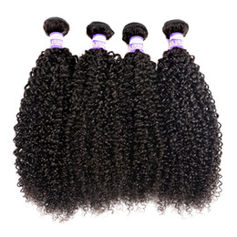 Wholesale Kinky Extensions - 10A Brazilian Kinky Curly Virgin Hair 3 4 Bundles Indian Peruvian Malaysian Mongolian Kinky Curly Human Hair Extensions Human Hair Weave