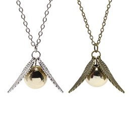 Wholesale Harry Necklace - Movie Jewelry Harry Wings Pendant Necklace Potter The Deathly Hallows The Golden Beads Charms Pendant Necklace 2 Colors