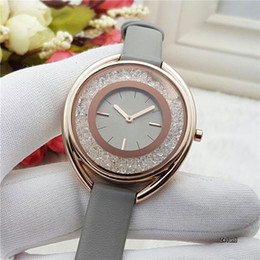 Wholesale Crystal Stones For Dresses - Dresses luxury brand watch Women Crystal gold Quartz watches For Ladies girls Leather Strap wristwatches Montre Homme Wtach Wholesale