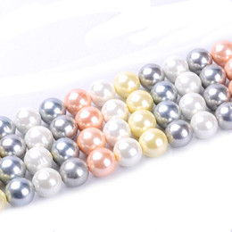 Wholesale Bead Craft Ball - 1pack lot 18mm Fashion round ball Natural Shell Pearl Loose Spacer Beads Mixed Multi Colours DIY for Jewelry & Craft necklace