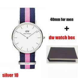Wholesale Green Colour Watches - 2017 top luxury brand dw Daniel women men Wellington watch fashion 10 colours nylon strap 40mm silver mens dw watches with gift box