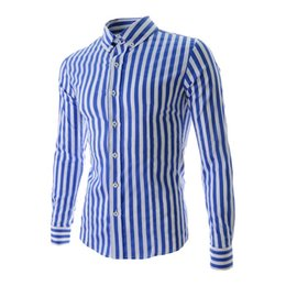 Wholesale French Cuff Clothing - Wholesale- SYB 2016 NEW New Fashion Streak Long Sleeve Cotton Slim Fit French Cuff Casual Male Shirt Clothes