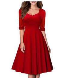Wholesale Dress Ball Grown - New Europe and the United States style fashion Retro Dress V-neck pure color stretch ball grown dress