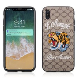 Wholesale Embroidery Cases - For iPhone X 8 7 6S Plus Cases Animal Embroidery Case Fashion StylishTPU PC Shockproof Back Cover for Samsung Galaxy Note 8