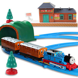 Wholesale Plastic Train Sets Kids - Train track toys Wheels And Friends Electric Trains Set With Rail Toys For Children Boys Kids Toys power by Battery kids gift