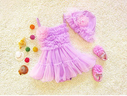 Wholesale Swimming Suit Flower - 2017 Summer New Girl Swimwear Ruffle Gauze Flower TUTU Hot spring Dress Fashion One Piece Swimming Suit + Cap 2-7Y 1706