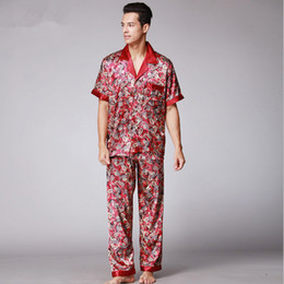 Wholesale Plus Size Satin Pajamas - Mens Paisley Silk Pajamas Set Summer Short Sleeve Satin Sleepwear Male Plus Size Loose Dressing Gown Nightgown