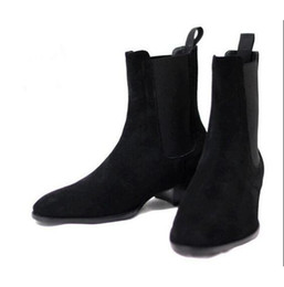 Wholesale Red Suede Ankle Boots - Men Suede Martin Boots Wyatt Chelsea Booties Men Stacked Heel Slip-On Shoes Fashion Nubuck Leather Chelsea Boot Ankle Men Shoes