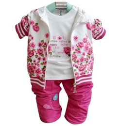 Wholesale Turtleneck Tee Shirts - Girls Outfits New Autumn Flower Printed Kids Clothing Sets Spring Casual Sets Peony Hooded Jacket + Tee Shirt + Trousers 3pcs Suits C1448