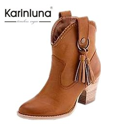 Wholesale Small Boot Heel - Wholesale-2016 New Gladiator Chunky Heels Women Ankle Boots Fashion Small Pointed Toe Tassle Shoes Cowboy women Dress Boots big size
