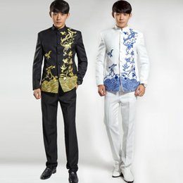 Wholesale Chinese Custom Suits - Wholesale- ( Jacket + Pants ) 2016 Fashion Brand Men Suits Chinese tunic suit Embroidery Blazers Slim Prom Groom Wedding Custom Fit Tuxedo