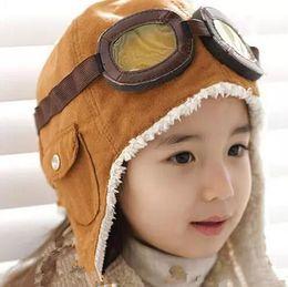 Wholesale Black Pilot Cap - High quality Fashion StyleNew Cute Baby Toddler Boy Girl Kids Pilot Aviator Cap Warm Hats Earflap Beanie Ear muff cap air force cap Warm B11