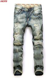 Wholesale Leg Panel - Wholesale- men's trousers of restoring ancient ways Hole straight leg Leisure popular logo torn jeans