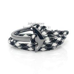 Wholesale Sailor Bracelets Wholesale - Wholesale-Metal Gun Black Color Plating Charm 19 Colors of Paracord Survival Cord Bend Curve Anchor Men Sailor Bracelet
