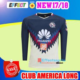 Wholesale America Long - Best Top Quality 2017 Mexico Club America Long Sleeve Soccer Jersey 17 18 Home Away Full SAMBUEZA P.AGUILAR Chivas football shirts