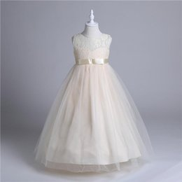 Wholesale Maxi Skirt Kids - Girls white lace maxi dress ribbon bowknot long skirt Big kids sleeveless embroidery lace princess gown party performance festivals costume