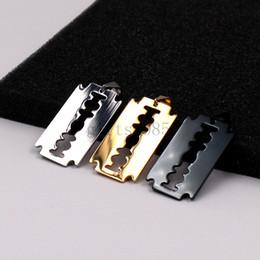 Wholesale Razor Gift - Razor Blade Necklace Silver golden black Stainless Steel Pendant 24inch box Chain
