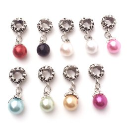 Wholesale Pearl Bead Big Hole - Fake Pearl Charms Big Hole Bead Pendant Fit Pandora Bracelet Pendant Fashion Jewelry Making Accessories