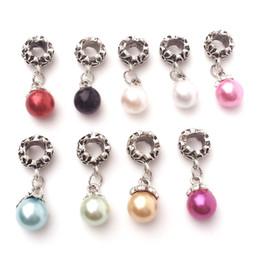 Wholesale Big Hole Pearls - Fake Pearl Charms Big Hole Bead Pendant Fit Pandora Bracelet Pendant Fashion Jewelry Making Accessories