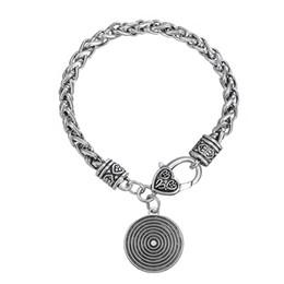 Wholesale Charm Brace - Simple Antique Silver plating Fashion Girl Target Shape Spiral Form Concentric Circle Vortex Donut Shape Pendant Lobster Clasp Brace