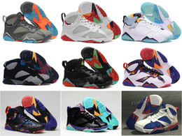 Wholesale Cheap Suede Shoes For Men - [With Box]Cheap Air Retro 7 French blue basketball shoes Raptor Hares Bordeaux Olympic sport sneaker shoes,For online hot sale us size 8-13
