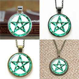 Wholesale Glass Cabochon Earrings - 10pcs Tur quoise Pentacle jewelry Glass Photo Cabochon Necklace keyring bookmark cufflink earring bracelet