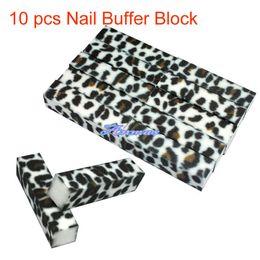 Wholesale Leopard Nail Buffer Wholesale - Wholesale- 10 PCS White Leopard Buffer Buffing Sanding Block Files Grit Nail Art Tool,HB-