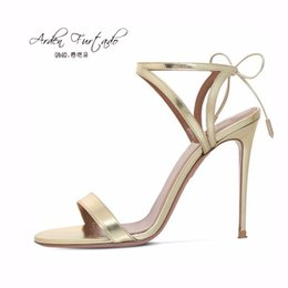 Wholesale Leather Straps Sexy - 2017 summer new style leather insole lace up sexy high heels 12cm ankle strap sandals for woman party shoes women plus size gold