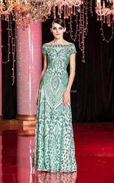 Wholesale Best Club Dresses - best selling green sequin tulle evening dresses 2018 Arabic Dubai bateau neckline sweep train evening gowns