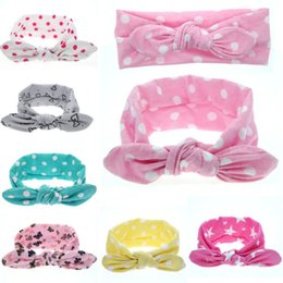 Wholesale Girls Dot Butterfly Knot - Wholesale- 1 PC Cute Baby Kids Girl Print Flower Butterfly Dot Star Rabbit Ears Hairband Turban Bow Knot Headband Hair Band Accessories
