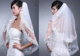 Wholesale Wedding Birdcage For Sale - Hot Sale In Stock Elegant White Wedding Bridal Veil 2T for Wedding Dress Embroidery Edge New