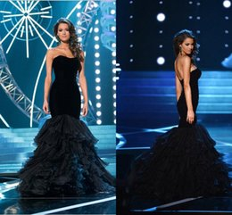 Wholesale Eveving Dresses - Hot Beautiful Full Cascading Ruffle Train Black Strapless Mermaid Sexy Evening Dresses Prom Gowns Beautiful Miss USA Pageant Eveving Dress