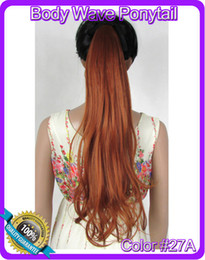 """Wholesale Wholesale Ponytail Hairpieces - Wholesale-22""""(55cm) 90g body wave ribbon ponytail hairpiece hair pieces clip in hair extensions color #27A Light Red Brown"""