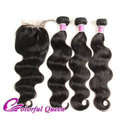Wholesale Mongolian Loose Curly Bundle - Brazilian Straight Human Hair 3 Bundles With Closure Body Wave Loose Wave Unprocessed Curly Human Hair Weaves With Lace Closure 4pcs Lot