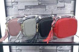 Wholesale Tassel Cross Body Bag Shoulder - High quality Genuine calfskin leather mini disco soho bag shoulder cross body women's handbag tassel square bag size:w21*h15*d7cm