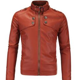 plus size pu motorcycle jacket Australia - 4XL Plus Size Premium Mens Motorcycle Jacket Short Coat Slim Top Designed Sexy PU Leather Coat Fit Washed Jackets J160811