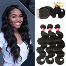 Wholesale Malaysian Big Wave Hair - Big Sale!Factory 7A Virgin Brazilian Human Hair 3Bundles With Lace Closure Unprocessed Peruvian Malaysian Indian Body Wave Bundles Extension