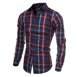 Wholesale Slim Fit Shirt Check Men - Wholesale- 2017 Mens Fashion Slim Fit Long Sleeve Shirts Plaid Cotton Casual Men Shirt Check Lapel Neck Black Navy Wine Red