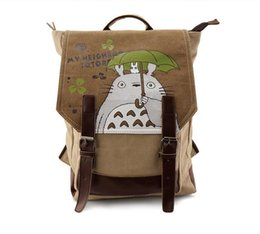 Wholesale Totoro School Backpack - 2017 Cute Canvas Totoro Bag Anime Backpack School Bags Cartoon Bookbag Shoulder Teenagers My Neighbour Totoro Printed Rucksack