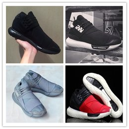 Wholesale Classic Winter Boots - All Black Color Mens Y3 Qasa High Top Sneakers Good Quality Womens Shoe Unisex Men Classic Y-3 Black Red Shoes Boots Size 36-44