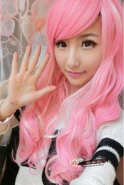 Wholesale Anime Girl Pink Curly Hair - free shipping >Women Girls Long Wavy Curly Hair Cosplay Wig Party Anime Full Wigs Pink+White
