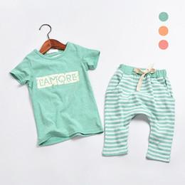 Wholesale Korean Style Kids Wearing - Wholesale- 2015 summer children's wear Korean style letter t shirts + striped harem for kids 2-piece sets cotton boys or girls set
